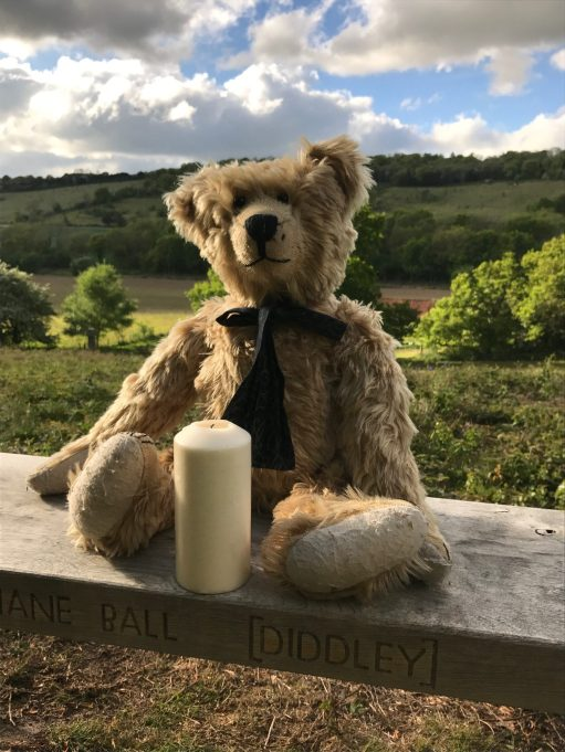 "The Bench: Lighting a Candle for Diddley - On Diddley's Bench… looking across to ""Diddley's View'."