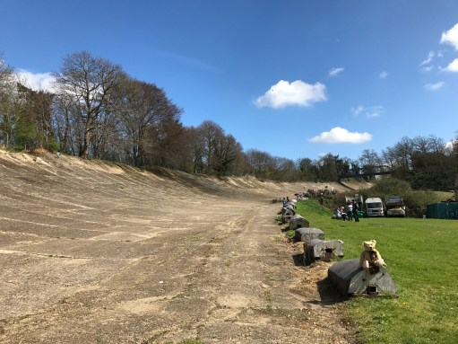 Brooklands: The world famous banking, where world record speeds were broken. Enormous Bentleys thundered round the top and some disappeared forever over the top. Mad days between the wars.