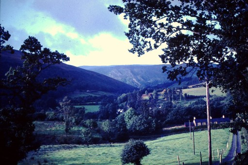 Gigrin Farm: The Wye Valley from the bedroom window, 1966.
