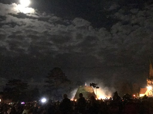 Great Success: Brockham Bonfire as the torches arrive on a full moon.