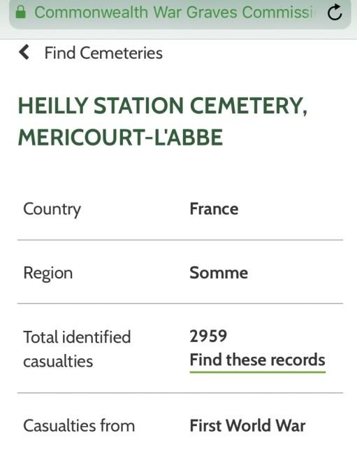 Private Evan Davies: Details on Heilly Station Cemetery, Mericourt-Labbe.