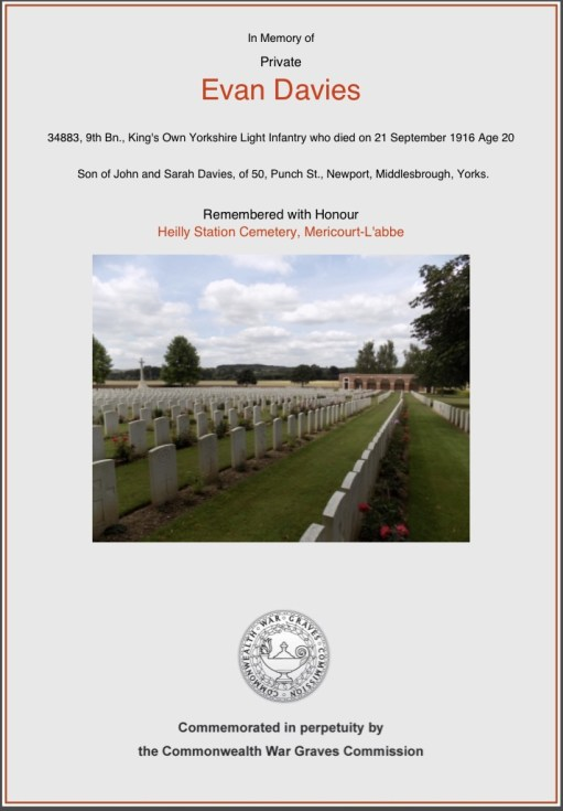 Private Evan Davies: Remembered with honour.