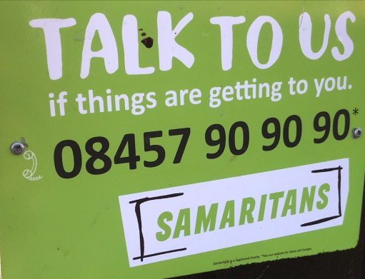 """Small Talk Saves Lives: Samaritans' Poster """"Talk to us if things are getting to you."""""""