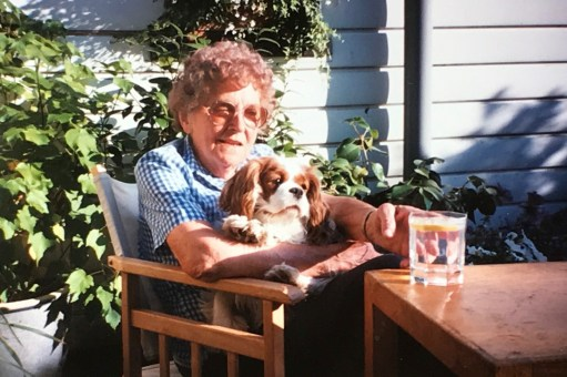 Cotswold Granny: Margaret Long. Diddley's Cotswold Granny. Seen here with Vicky her beloved dog when she stayed at Laurel Cottage before Bobby's time there.