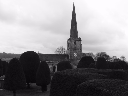 Cotswold Granny: St Mary Painswick. The church of 99 yew trees (all numbered with small plaques).