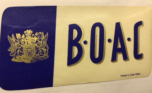 Trevor's Stickies: British Overseas Airways Corporation. Since 1939, BOAC was Britain's most famous airline. Ironically, formed by a merger of Imperial Airways and British Airways Ltd. Especially overseas. It joined with BEA (British European Airways) to form today's British Airways in 1974. Famous for its rather stuffy, elitist imagery, its sticky labels followed suit. But then it flew the world's first jet airline. The Comet. And later, of course, Concorde.