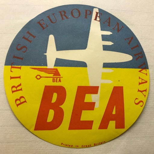 Trevor's Stickies: British European Airways. BEA. Had a much younger image. Bobby nearly worked for them. Passing examinations, right up to the last interview. Air traffic control doesn't sound good for a GAD sufferer! The airliner outline is the Vickers Viscount, which should get its own story. Merged with BOAC to form British Airways in 1974.