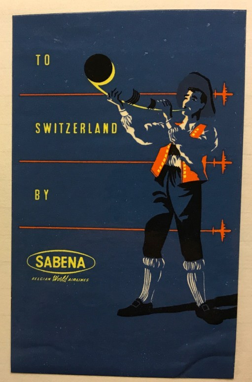 Trevor's Stickies: To Switzerland by Sabena.