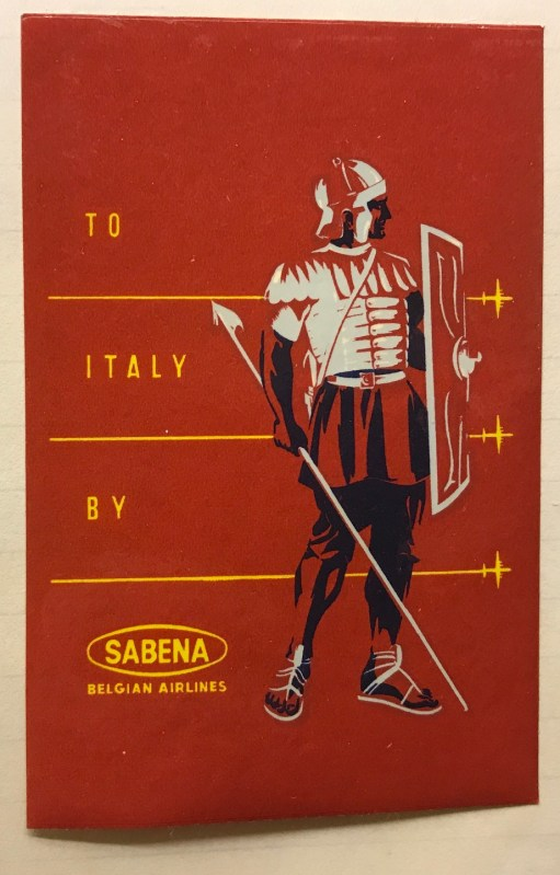 Trevor's Stickies: To Italy by Sabena.