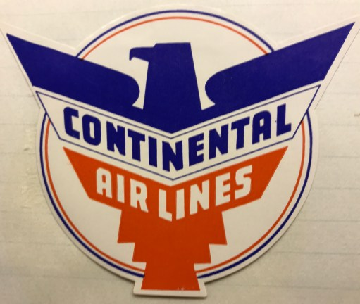 Trevor's Stickies: Continental Airlines was a big American player from 1937-2012, when it merged with United Airlines. They bought British Viscounts in 1958, which Bobby saw at Wisley Aerodrome pre delivery.