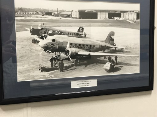 Croydon Airport: Pre war Croydon. Lufthansa looking ominous. Czechoslovak DC3.