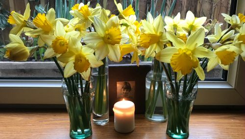 Special One: Lighting a Candle for Diddley: On the kitchen window sill at Laurel Cottage. Where better?