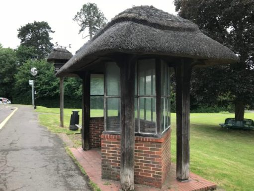 The Footbridge: Westcott bus shelter and dovecote.
