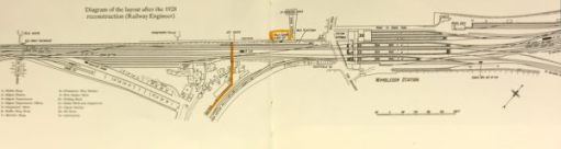 "The Footbridge: The bridge in 1928 plus the ""Milk Dock""."