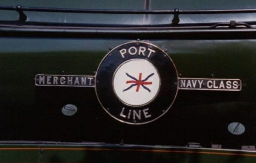 "The Footbridge: Close up of Port Line's nameplate. All this class of locomotive were named after Merchant Navy ships. A similar but lighter-weight version was known as the ""Battle of Britain"" Class."