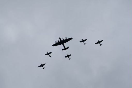 RAF 100: RAF Memorial Flight. Lancaster, three Spitfires, two Hurricanes.