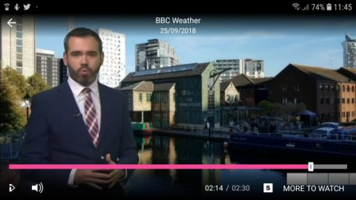 Lonnie Donegan: Ben Rich presenting the weather with our photograph of Gas Street Basin behind!