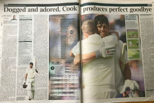 """I woz there: """"Dogged and adored, Cook produces perfect goodbye"""""""