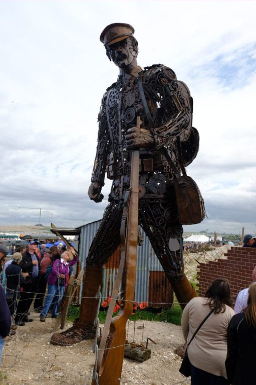 Great Dorset Steam Fair: Enormous statue out of metal scraps.