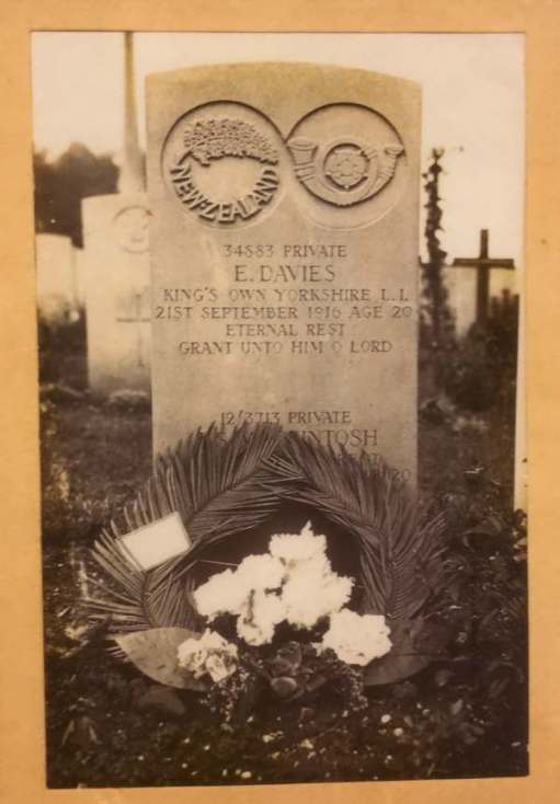 Remembrance Day: Lighting a Candle for Diddley - This is her only photograph of Private Evan Davies' grave.