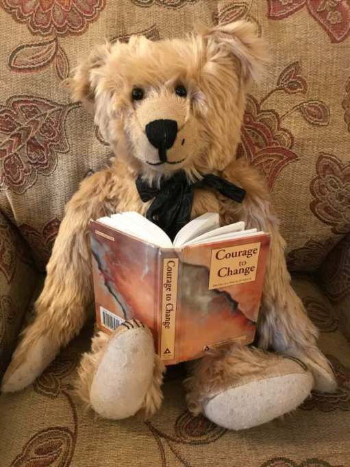 "Happy New Year - Bertie reading book ""Courage to Change""."