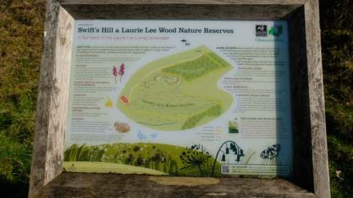 Cotswold Reverie: Swift's Hill and Laurie Lee Wood Nature Reserves interpretation board.