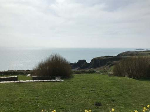 Walk from St David's: The view from the chapel on a grey day.
