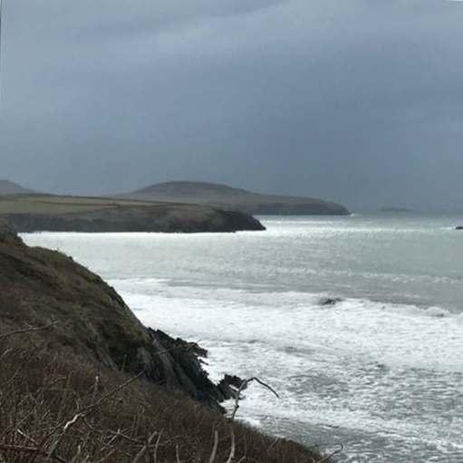 Walk from St David's: Rain coming. Ramsay Island furthest land. Near Whitesands.