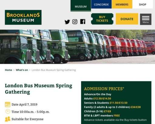 Advert for the London Bus Museum Spring Gathering.