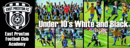 We Won the Cup: East Preston Football Club Academy - Under 10s White & Black.