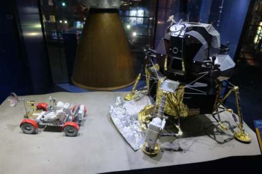 April in Paris: A model of the moon rover and the lunar module.