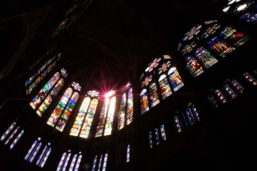 April in Paris: Stained Glass windows in the Basilica of Saint-Denis.