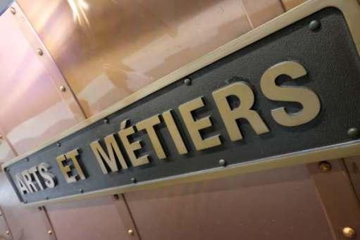 April in Paris: Arts et Métiers Metro Station sign.