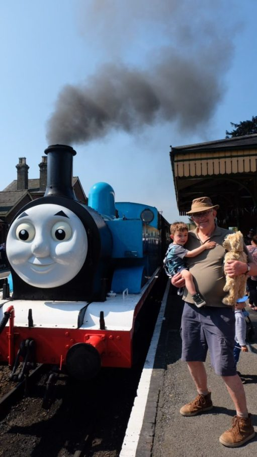 Breathe in… Bobby holding Little Jay and me on the platform.