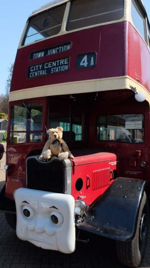 Bertie the bus is a single decker. What's your name? (Me perched on the bonnet of a front-engined half-cab double decker bus).