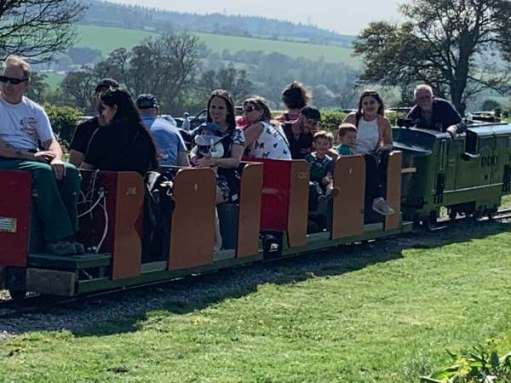 Miniature railway ride for Big Jay, Little Jay and Jasmine.