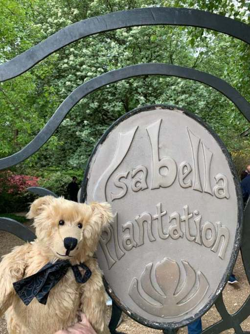 Bertie sat on a seat in the Isabella Plantation. The seat bears the name in a crest format.