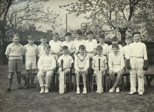 """Cheam Park Farm cricket team. Tallest centre back. I truly """"belonged"""" to that cricket team. 1955. I wonder where the all boys are now?"""