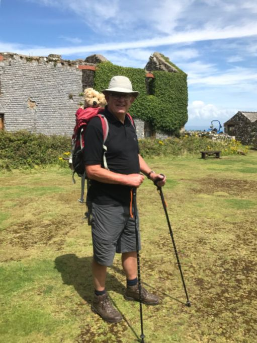 Bobby photographed on Skomer Island. Bertie is in his rucksack on his back, peering over Bobby's shoulder.