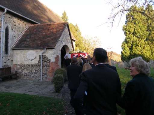 Funeral procession entering St Mary's Church, Selborne.