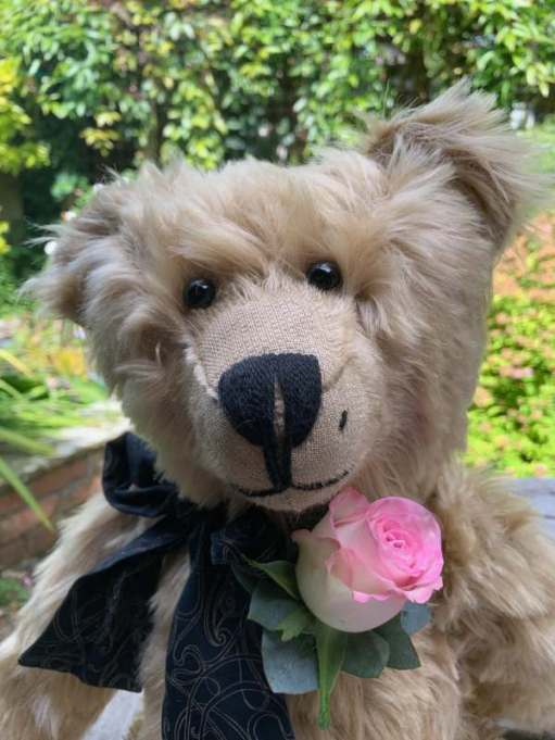 Bertie at Tommy's wedding - complete with pink rose buttonhole.