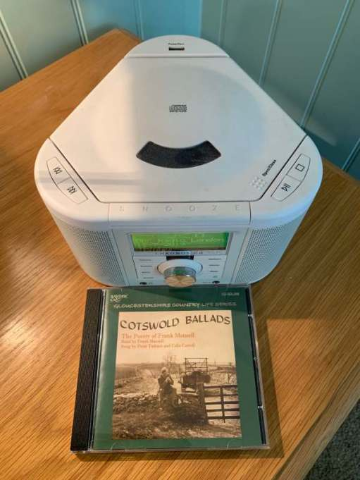 "A CD of Frank Mansell's ""Cotswold Ballards"" in from of the Pure Radio/CD Player."