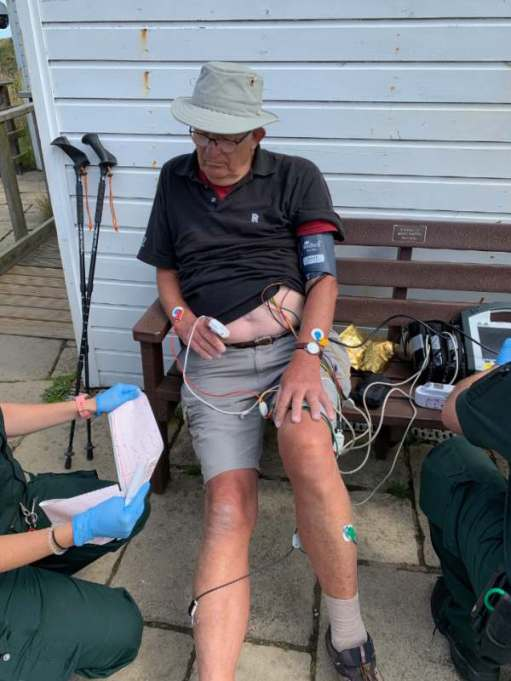 Heart Attack: Last sighting for Bobby Ballcock for his blog! All wired up.