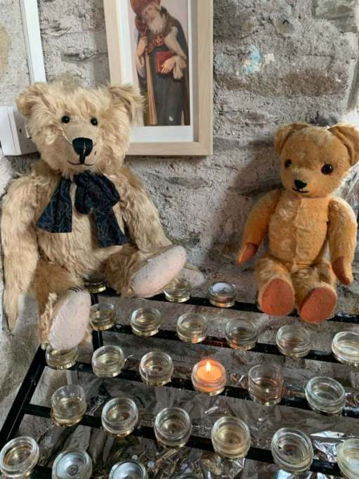 Lighting a Candle for Diddley and NHS Wales. Bertie & Eamonn, St Non's Chapel, St David's.