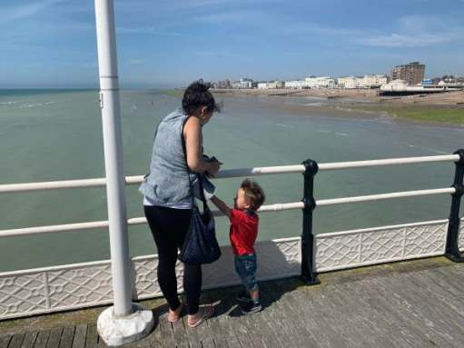 Jasmine and Little Jay on the west side of Worthing Pier.