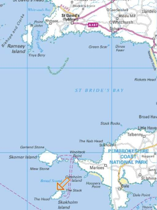 Map showing the location of Skokholm Island.