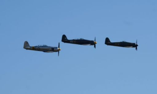 Three Hawker Sea Furies flying at Duxford Airshow 2019.