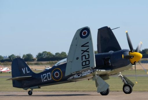 Sea Fury, with wings folded for carrier operation, at Duxford Airshow 2019.