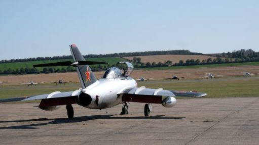 Mikoyan-Gurevich MiG 15 on the runway at the Duxford Airshow 2019.