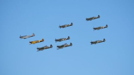 Spitfires over Duxford at 2019 Airshow.